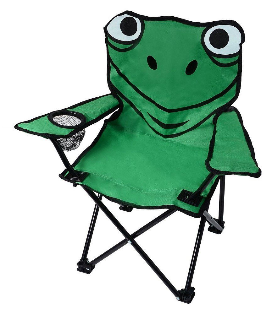 Wondrous Kids Camping Folding Chair Frog With Drinking Holder 35 X Theyellowbook Wood Chair Design Ideas Theyellowbookinfo