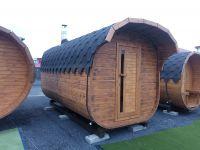 Finská Sudová Sauna KVADRO 4,5 m, Spruce, Chimney, Fireplace, Electricity
